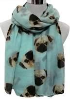 Tenworld Ladies Cute Pug Dog Print Scarf Wraps Shawl Soft Long Scarves