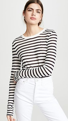 Alexander Wang Classic Striped Slub Jersey Long Sleeve Tee