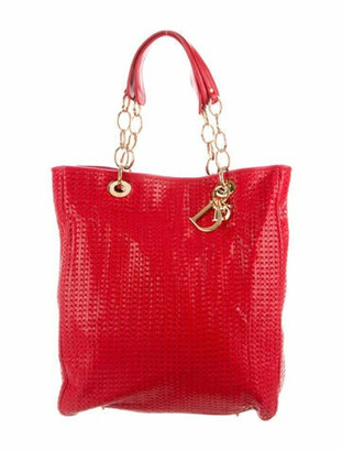 Christian Dior Soft Woven Lady Tote Red