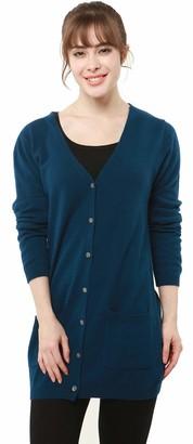 PHELEAD Women's 100% Merino Wool Long Sleeve Knit Jumper Warm Winter V-Neck Long Cardigan Sweater (M