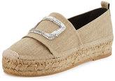 Roger Vivier Shoes & Handbags Canvas Crystal-Buckle Espadrille Flat, Beige