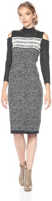 Gabby Skye Women's Turtle Neck Cold Shoulder Sweater Dress
