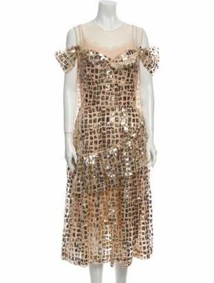 Simone Rocha Printed Long Dress w/ Tags Gold