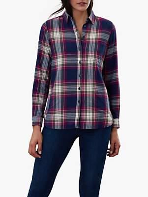Joules Lorena Longline Brushed Shirt, Red Check