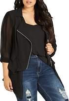 City Chic Fancy Mixed Media Jacket