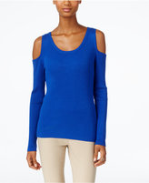 ECI Ribbed-Knit Cold-Shoulder Sweater