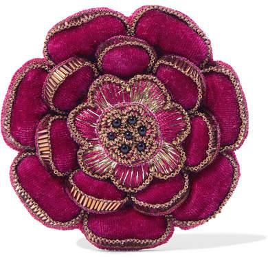 Etro Beaded Velvet Brooch - Pink