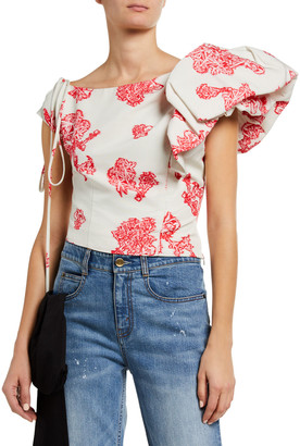 Hellessy Floral Print Cotton Jersey Side Ruffled Blouse