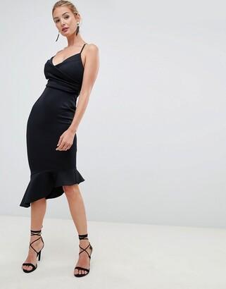 Asos Design DESIGN fuller bust scuba cami pephem midi dress-Black