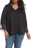 Sejour Plus Size Women's Lace Detail V-Neck Blouse