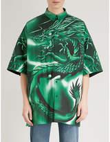 Balenciaga Dragon-print padded cotton shirt