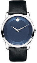 Movado Museum Classic Blue Dial Black Leather Strap Watch