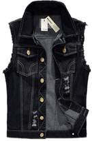 Crazy Men's Sleeveless Lapel Hole Denim Vest Jacket
