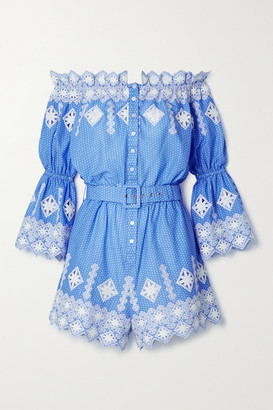 Miguelina Halle Off-the-shoulder Embroidered Polka-dot Cotton-poplin Playsuit - Blue