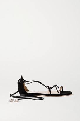 Jimmy Choo Dusti Crystal-embellished Suede Sandals - Black