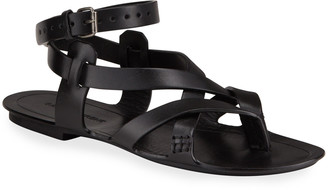 Saint Laurent Culver Flat Leather Buckle Ankle-Strap Sandals
