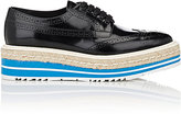 Prada Women's Wingtip Brogue Platform Espadrille Sneakers-BLACK