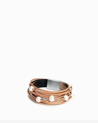 Express Leather & Pearl Turnlock Cuff Bracelet
