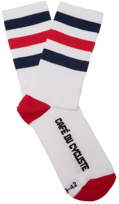 Café Du Cycliste Striped Cycling Socks - White Multi