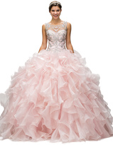 Dancing Queen - Whimsical Illusion Chiffon A-Line Gown with Tiered Skirt 9185