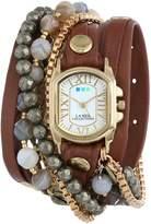 La Mer Women's LMMULTI2011 Positano Cognac Leather Wrap Band Watch