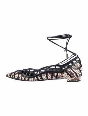 Aquazzura Seduce Me Flat Leather Ballet Flats Black