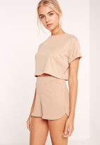 Missguided Petite Exclusive Ribbed Crop T Shirt Camel