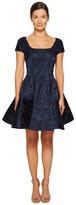 Zac Posen Short Sleeve Boat Neck Fit and Flare Jacquard Dress Women's Dress