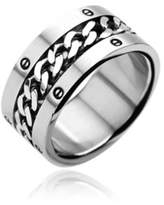 Spikes Chain Center Bolted Rings 316L Stainless Steel Ring