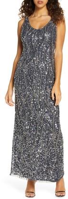 Pisarro Nights Sequin & Bead Sleeveless Gown