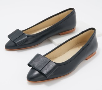 BluBlonc Leather Pointed-Toe Bow Flats