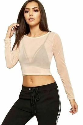 FashioN HuB Womens Sheer Mesh Cropped Top Ladies Crew Neck See Through Stretchable T Shirt Small-Medium UK 8-10 White