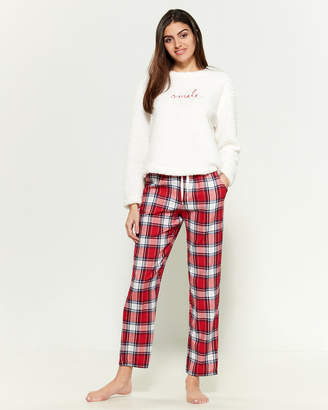 ED Ellen Degeneres Two-Piece Brushed Sherpa & Flannel Pants PJ Set