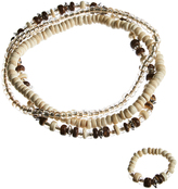Carole Natural & Brown Beaded Stretch Anklet & Stretch Toe Ring Set