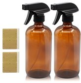 Mavogel Refillable Empty Amber Glass Spray Bottle with Black Trigger, 16-Ounce (Pack of 2)