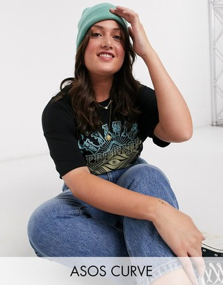 Asos DESIGN Curve oversized t-shirt with psychedelic band print in ombre