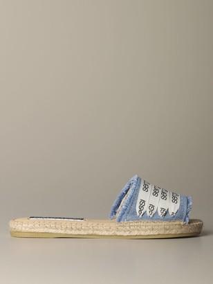 Sergio Rossi + Manebigrave; Flat Sandal In Denim