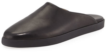 The Row Eric Flat Leather Mule Slide, Black