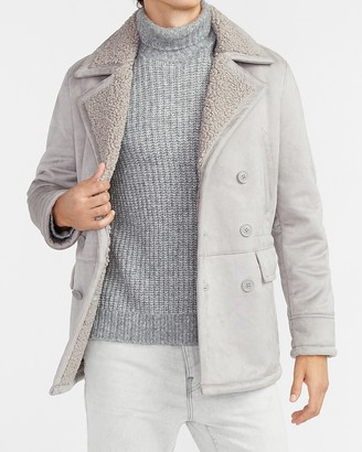 Express Gray Water-Resistant Sherpa Lined Trench Coat