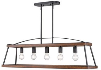Gracie Oaks Journey 5 - Light Kitchen Island Linear Pendant with Wood Accents Shade Color: Rustic Oak