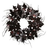 """Thumbnail for your product : Glitzhome 26"""" D Lighted Halloween Bat Wreath"""