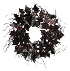 """Glitzhome 26"""" D Lighted Halloween Bat Wreath"""
