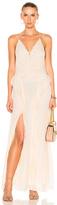 Jonathan Simkhai Silk Tie Dye Deep V Ruffle Gown in Neutrals.