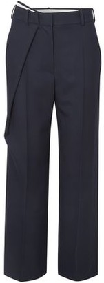 Cédric Charlier Wrap-effect Wool-twill Straight-leg Pants