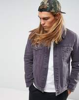 Asos Denim Jacket In Washed Purple