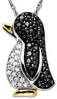 Lord & Taylor Diamond Penguin Pendant in Sterling Silver with 14 Kt. Yellow Gold, 0.25 ct. t.w.