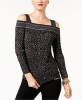 MICHAEL Michael Kors Cold-Shoulder Leopard-Print Top, Created for Macy's