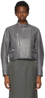 Acne Studios Grey Leather Biker Jacket