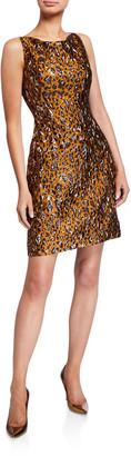 Zac Posen Leopard Jacquard Cocktail Dress