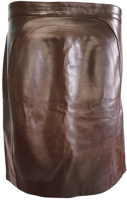 Jitrois Brown Leather Skirt for Women Vintage